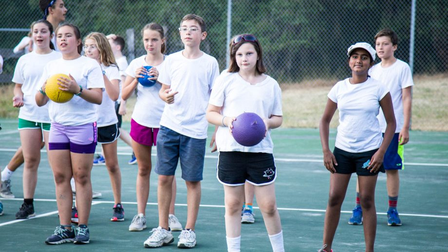 Line of campers waits during dodgeball