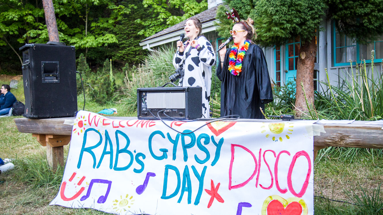 Camp counselors DJ for Gypsy Day disco
